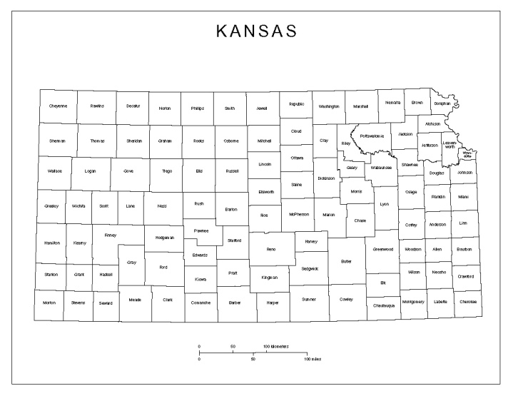 labeled map of Kansas state, KS county map