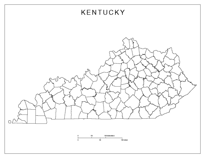 blank map of Kentucky state, KY county map