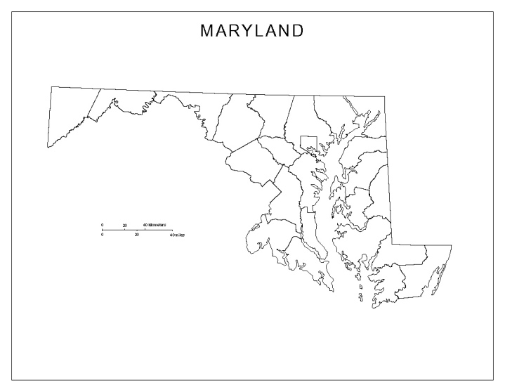 blank map of Maryland state, MD county map