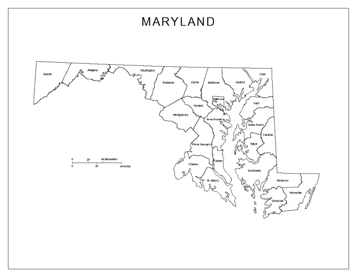 labeled map of Maryland state, MD county map