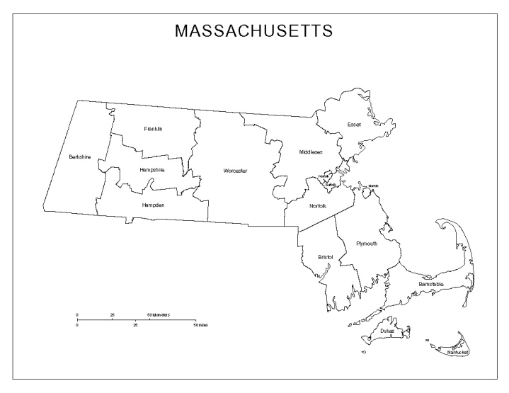 labeled map of Massachusetts state, MA county map