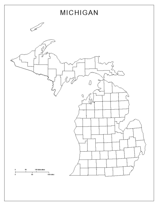 blank map of Michigan state, MI county map