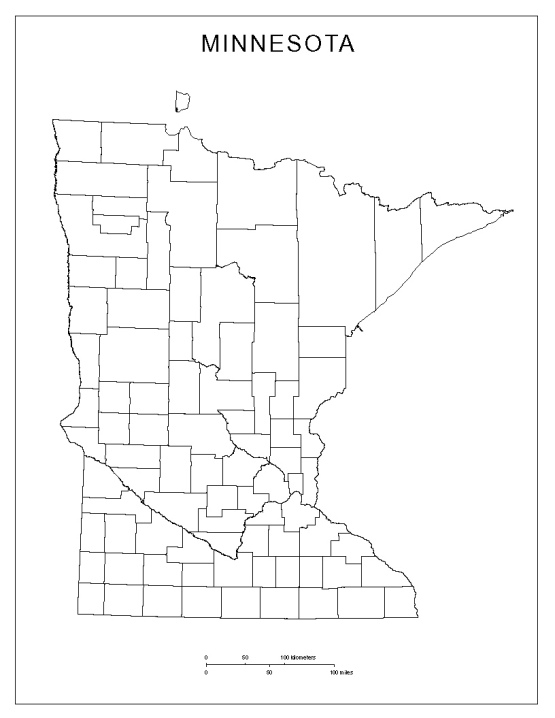 blank map of Minnesota state, MN county map