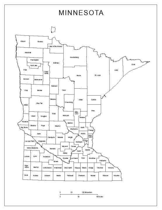 labeled map of Minnesota state, MN county map