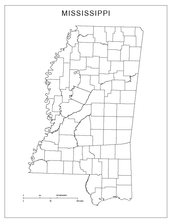 blank map of Mississippi state, MS county map