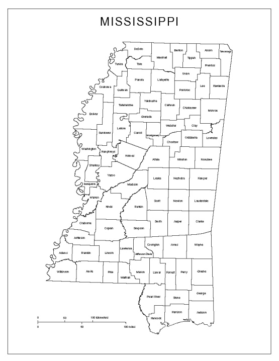 labeled map of Mississippi state, MS county map