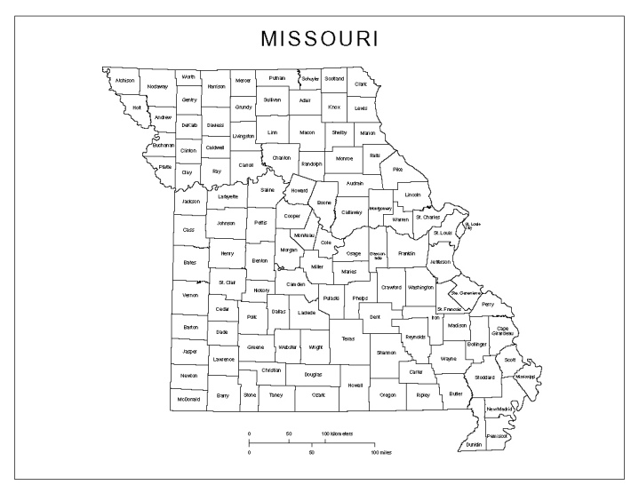 labeled map of Missouri state, MO county map
