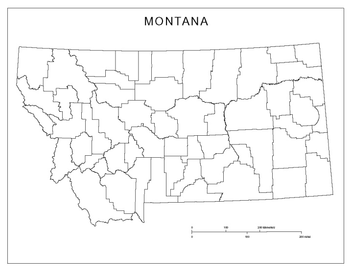 blank map of Montana state, MT county map