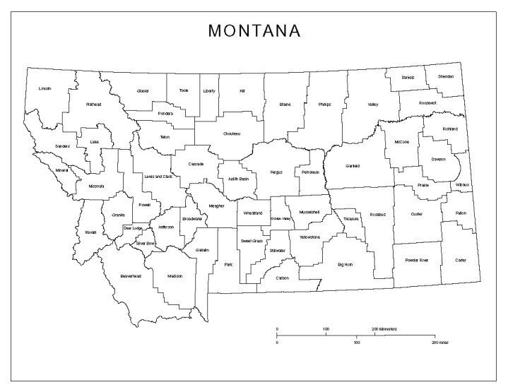 labeled map of Montana state, MT county map