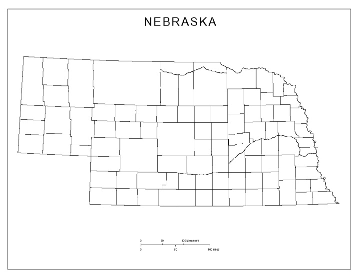 blank map of Nebraska state, NE county map