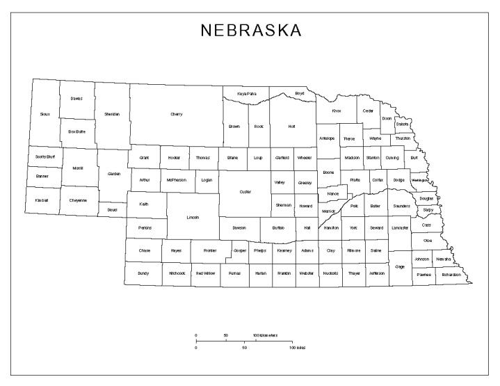 labeled map of Nebraska state, NE county map