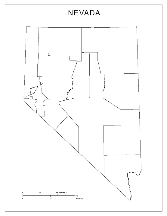 blank map of Nevada state, NV county map