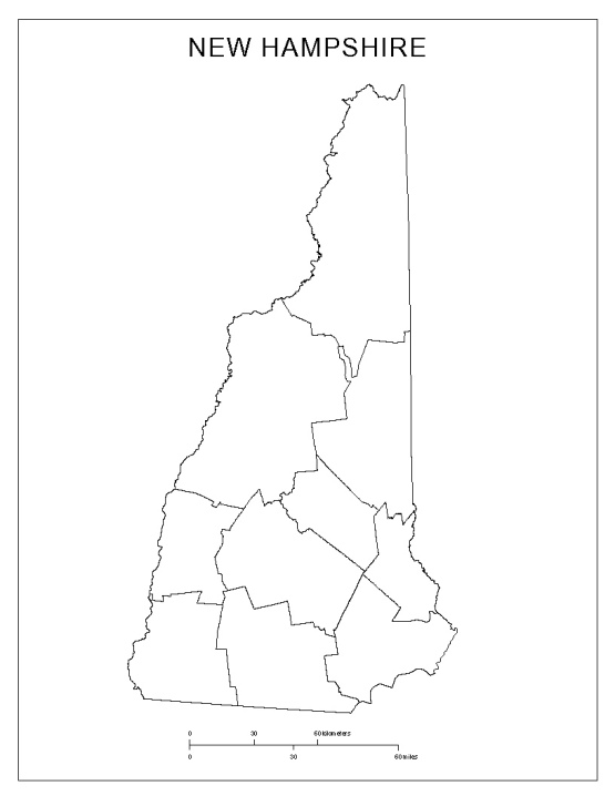 blank map of New Hampshire state, NH county map