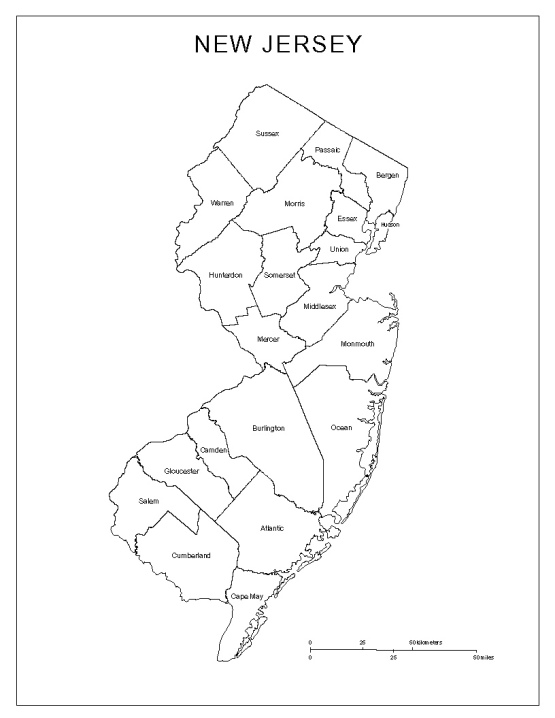 labeled map of New Jersey state, NJ county map
