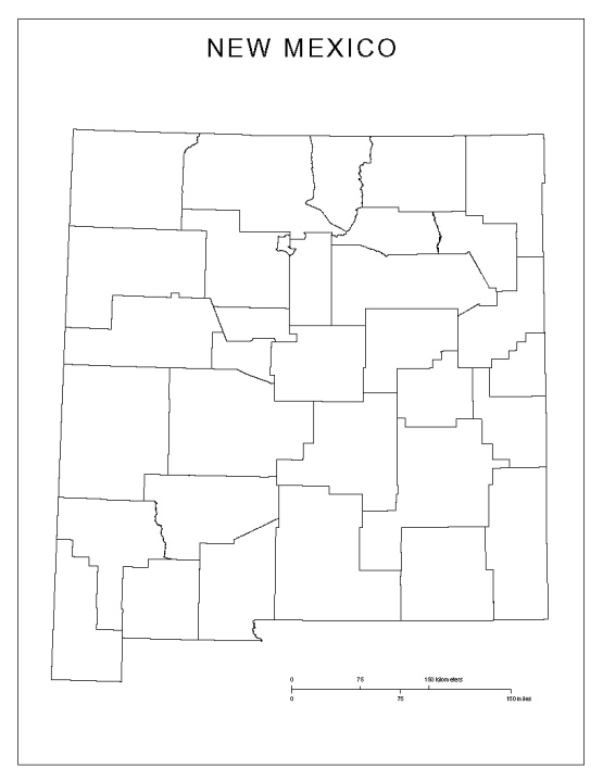 blank map of New Mexico state, NM county map