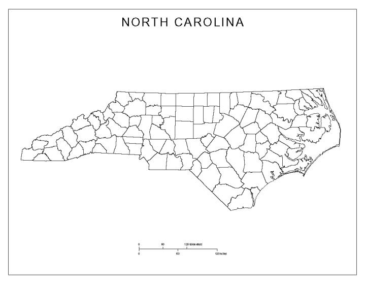 blank map of North Carolina state, NC county map