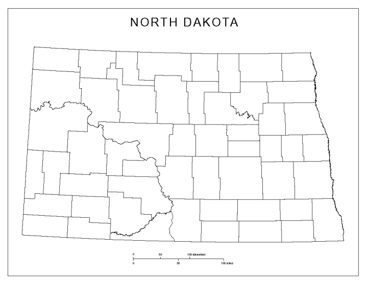 blank map of North Dakota state, ND county map