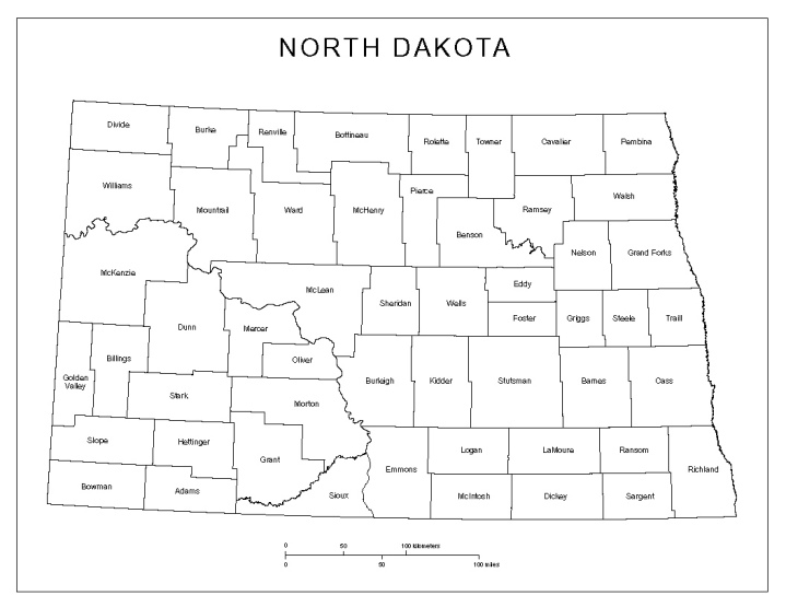 labeled map of North Dakota state, ND county map