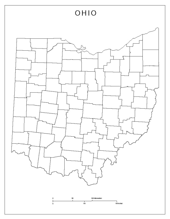 blank map of Ohio state, OH county map