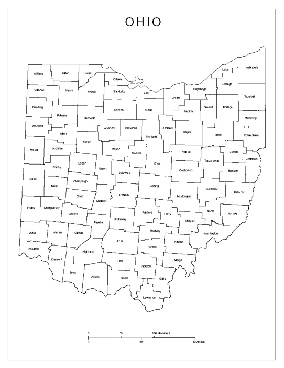 labeled map of Ohio state, OH county map