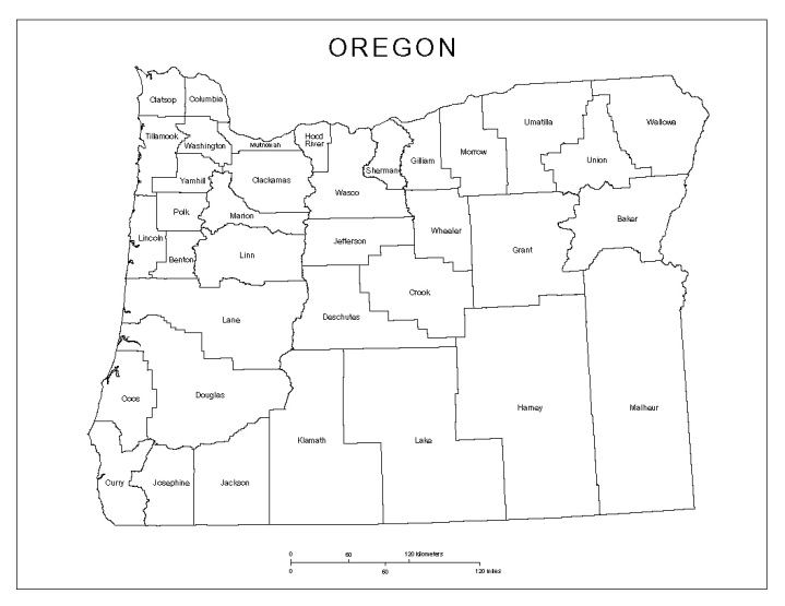 labeled map of Oregon state, OR county map