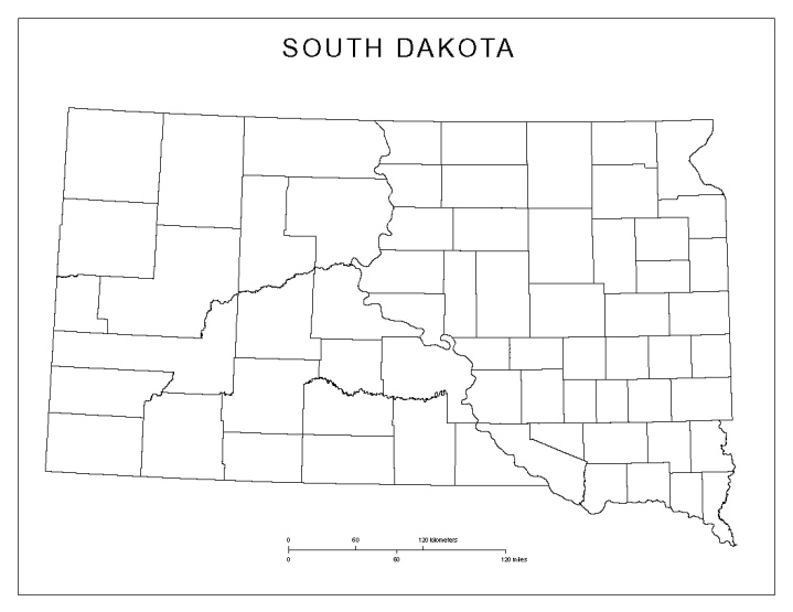 blank map of South Dakota state, SD county map