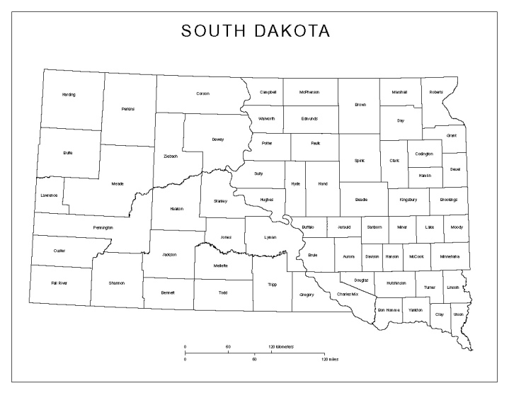 labeled map of South Dakota state, SD county map