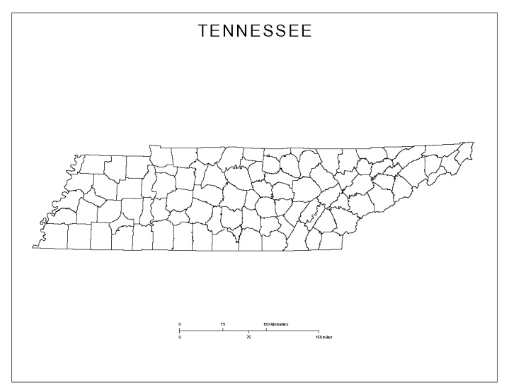 blank map of Tennessee state, TN county map
