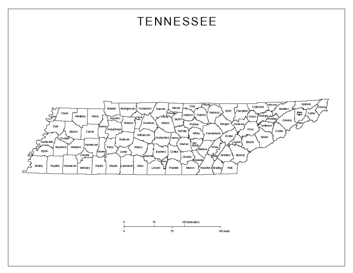 labeled map of Tennessee state, TN county map