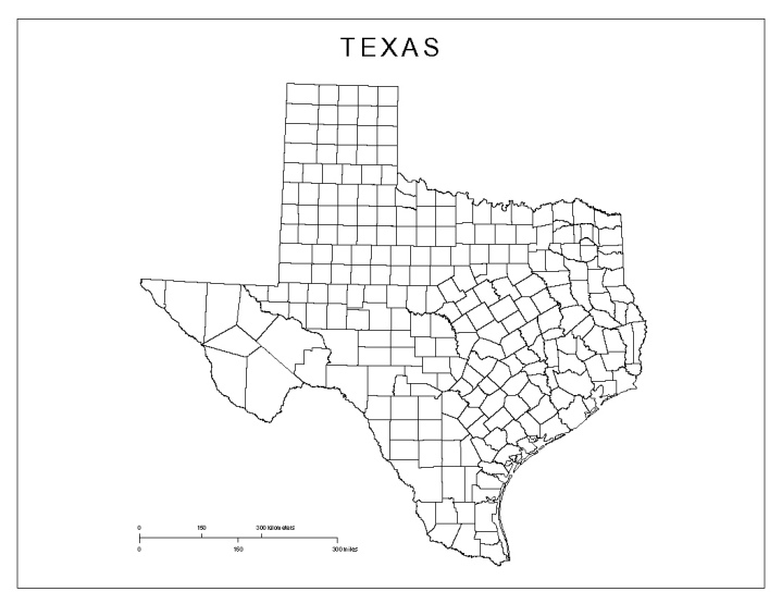blank map of Texas state, TX county map