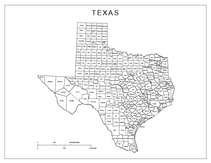 labeled map of Texas state, TX county map