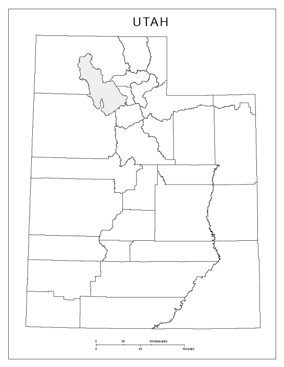 blank map of Utah state, UT county map