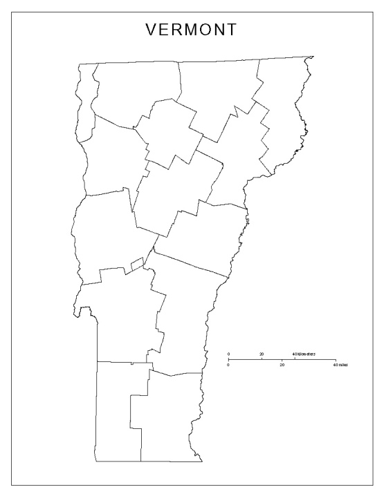 blank map of Vermont state, VT county map