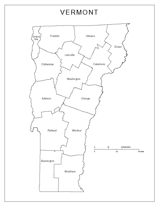 labeled map of Vermont state, VT county map