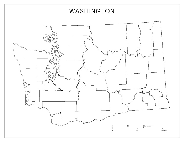 blank map of Washington state, WA county map