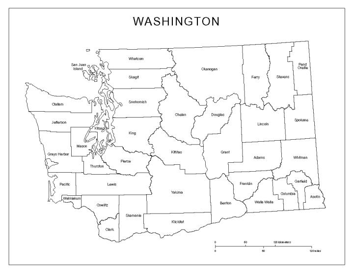 labeled map of Washington state, WA county map