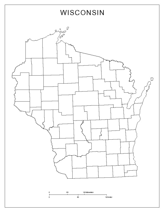 blank map of Wisconsin state, WI county map