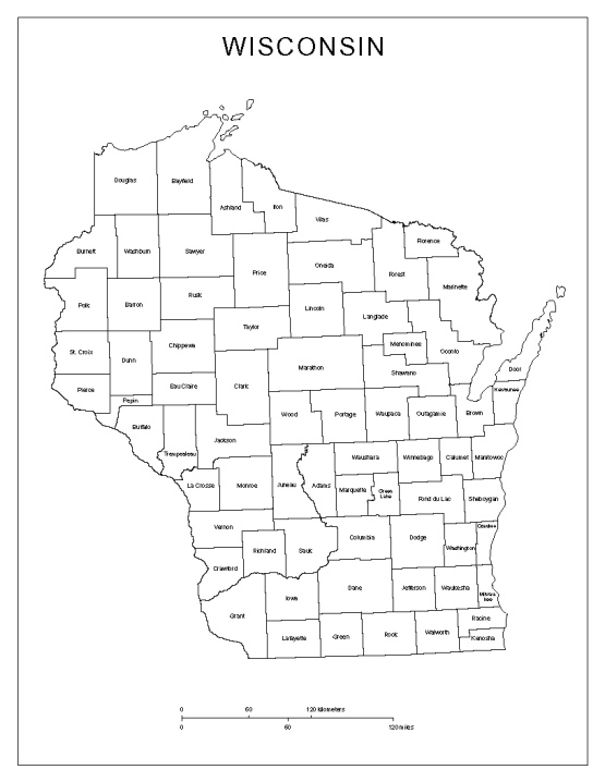 labeled map of Wisconsin state, WI county map
