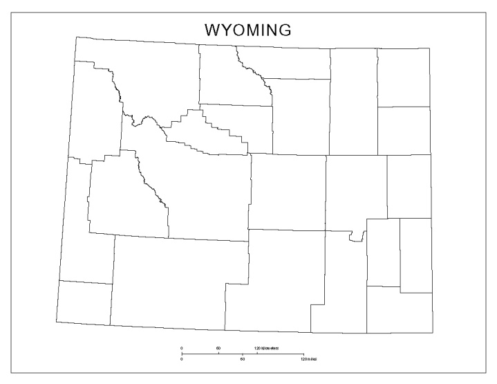 blank map of Wyoming state, WY county map