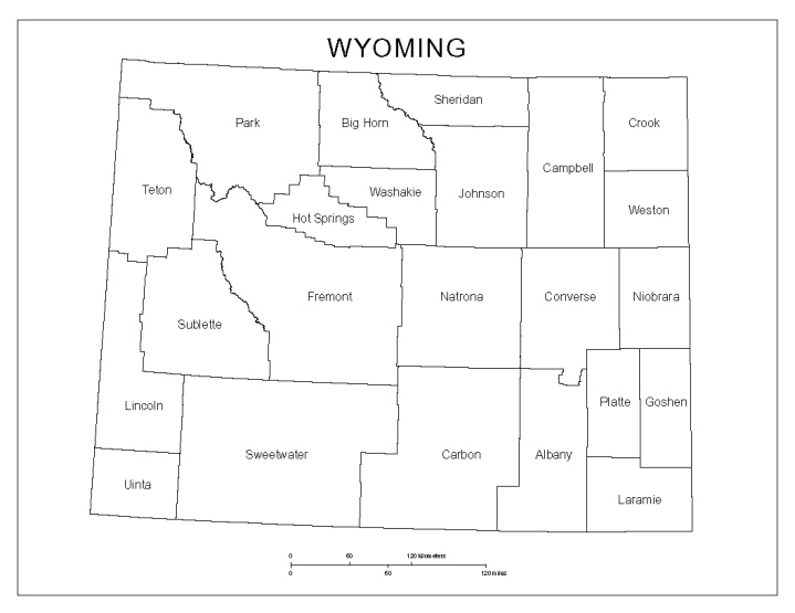 labeled map of Wyoming state, WY county map