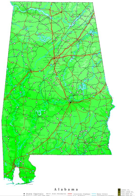 contour map of Alabama state, AL elevation map
