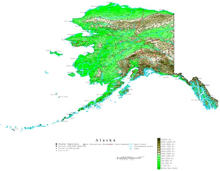 contour map of Alaska state, AK elevation map