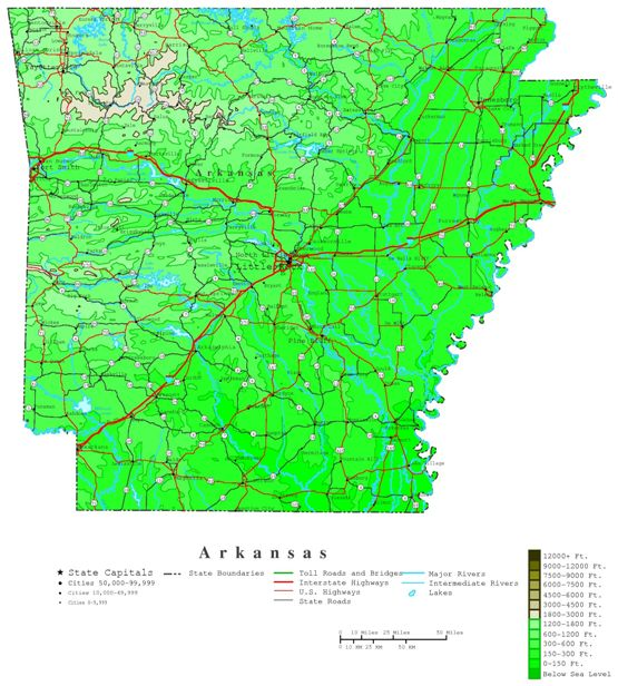 contour map of Arkansas state, AR elevation map