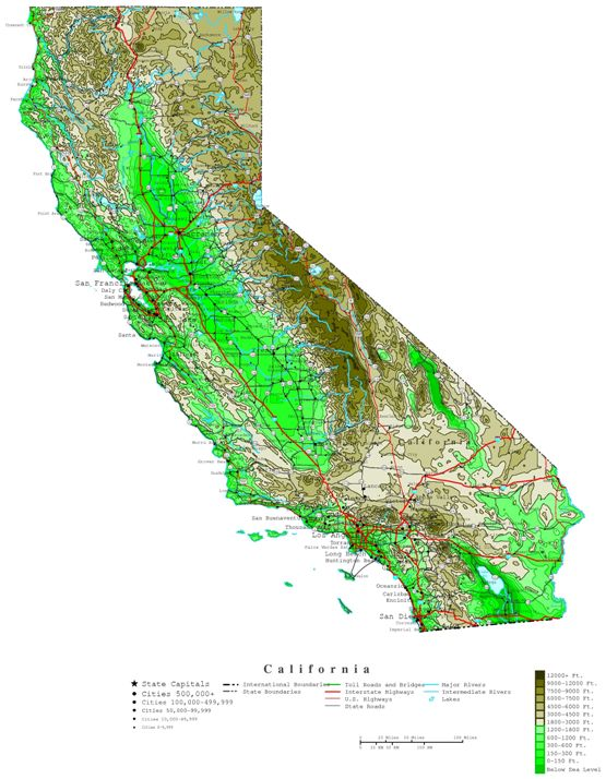 contour map of California state, CA elevation map
