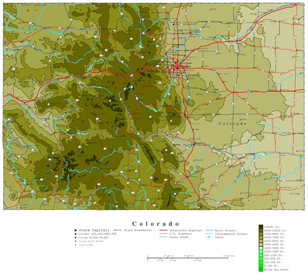 Colorado Elevation: Colorado Contour Map