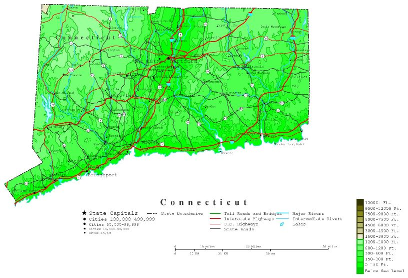 contour map of Connecticut state, CT elevation map
