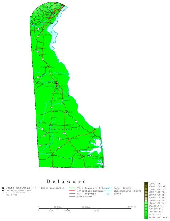 contour map of Delaware state, DE elevation map
