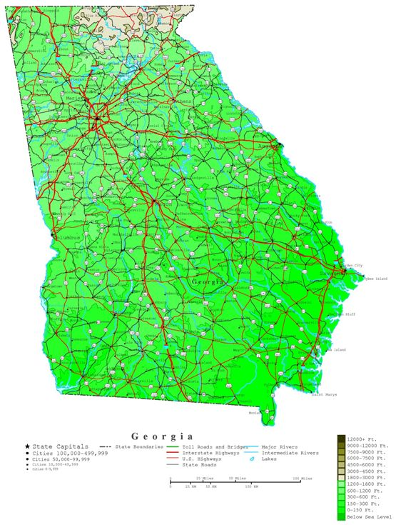 contour map of Georgia state, GA elevation map