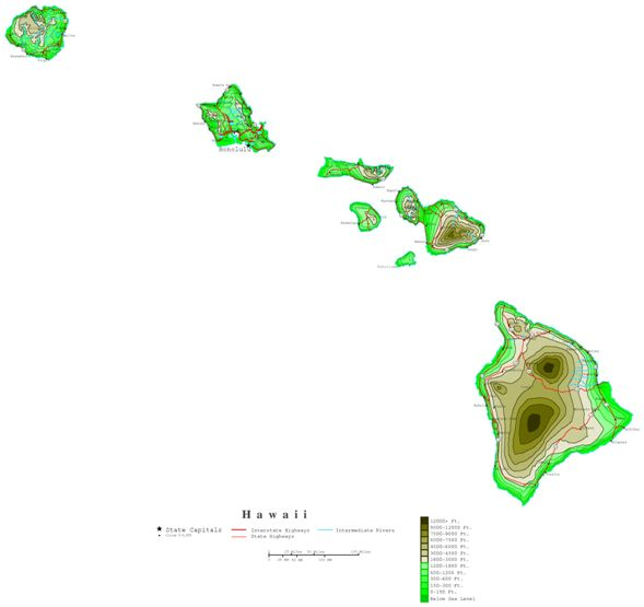 contour map of Hawaii state, HI elevation map