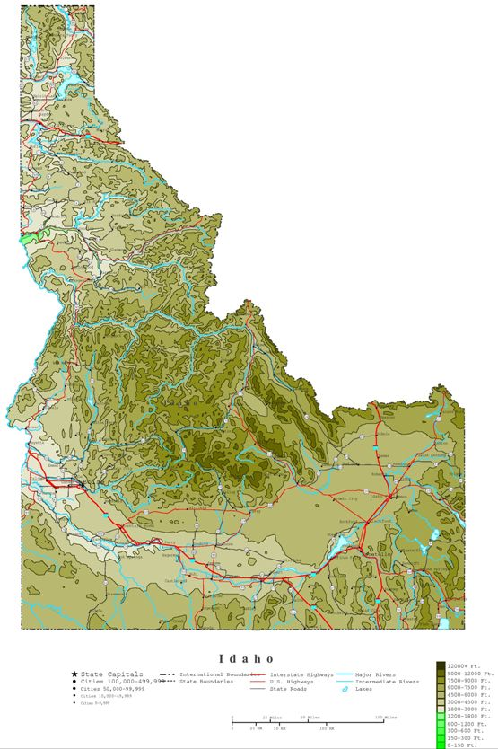 contour map of Idaho state, ID elevation map